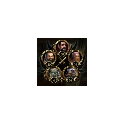 The interface in this picture shows 16 werewolves instead of 50 elves and 16 templars instead of 12 mages.