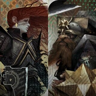 Tarot cards depicting a female and male dwarf in <i>Dragon Age: Inquisition</i>