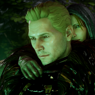 Envy demon showing the Herald Leliana slitting Cullen's throat