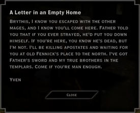 A Letter in an Empty Home (To Brythis) - Note Text