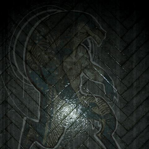 A fresco of a reptilian in the <a href=