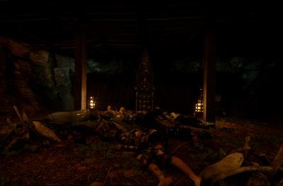 A glowing key shrine