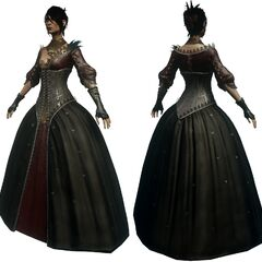 Morrigan's ball gown, front and back.