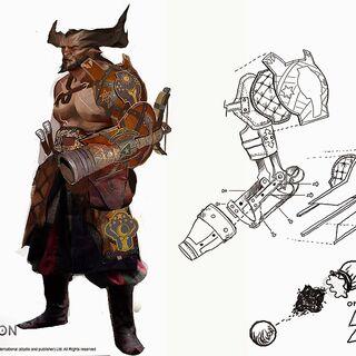 Grafika koncepcyjna przedstawiająca Żelaznego Byka bez ręki oraz projekt protezy.