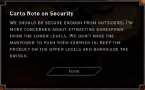 Note Text - Carta Note on Security