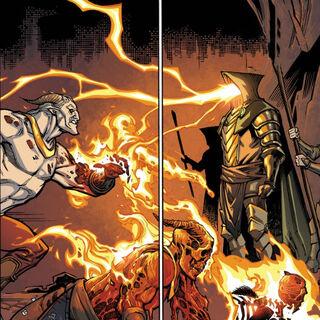 Titus benutzt Drachenfeuer im Kampf gegen <a href=