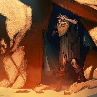 Grafika koncepcyjna przedstawiająca Andersa jako pustelnika.