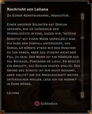 Nachricht von Leliana