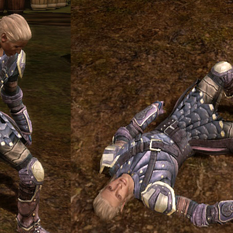 Zevran may weave or fall over after repeated applications of the brandy.