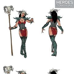 Artwork of Yavana's tier progression in <i>Heroes of Dragon Age</i>