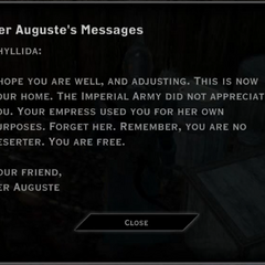 Found in Argon's Lodge; to Phyllida, from Auguste
