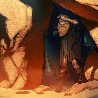 Grafika koncepcyjna z <i>Inkwizycji</i> przedstawiająca Andersa jako pustelnika
