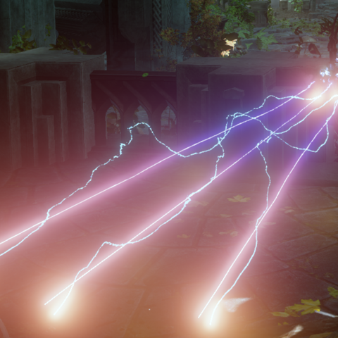 Longbow of the Griffon firing with lightning runes attached