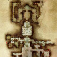 """Zburzona świątynia, pierwsze piętro, trzeci i czwarty zwój; Uwaga: zwój oznaczony jako """"1"""" jest błędny, znajduje się w pokoju wyżej"""