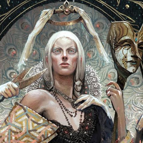 Okładka <i>Cesarstwa masek</i> przedstawiająca cesarzową Celene