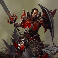 Promotional artwork of Samson as a Red Templar in <i>Heroes of Dragon Age</i>