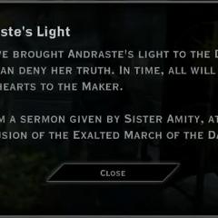 Andraste's Light Landmark Text