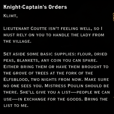 Red Templar orders regarding Mistress Poulin