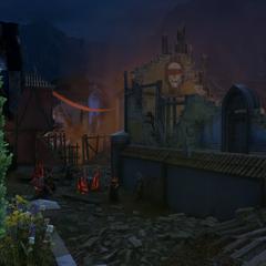 Ein von Roten Templern eingenommenes Dorf