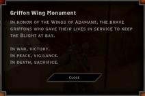 Griffon Wing Monument Landmark Text