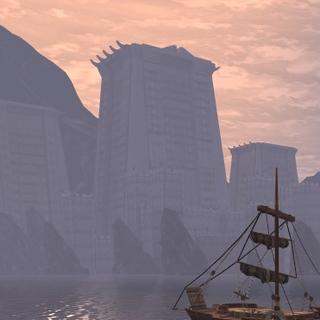 Die Galgenburg von den Docks aus gesehen