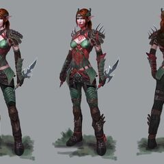 Artwork of Tallis' tier progression in <i>Heroes of Dragon Age</i>