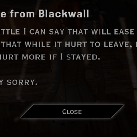 Blackwall's letter to a romanced Inquisitor