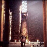 Cullen betend in der Kapelle der Himmelsfeste