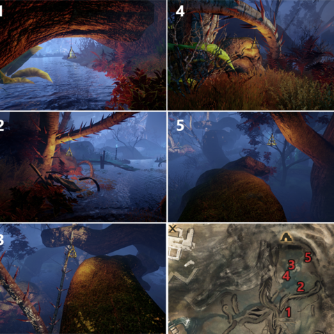 Each artifact and its location on the map