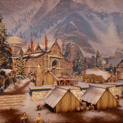 Wioska Azyl z widocznymi w tle górami