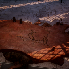 A map of Thedas carved into the table