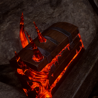 Red Lyrium's inexorable growth destroying a storage chest