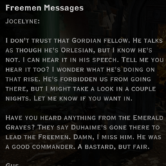 Freemen messages; to Jocelyne, from Gus