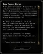 Note Text - Grey Warden Diaries (Valeska's Watch)