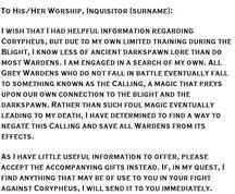 Carta del Héroe de Ferelden al Inquisidor