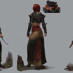 Artwork of Lay sister Leliana's tier progression in <i>Heroes of Dragon Age</i>