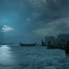 Die Docks vor Neu-Kammwald (während der Überflutung)