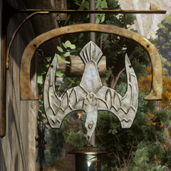 The tavern's sign depicts, as the name says, a gull and a lantern.