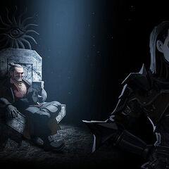 Grafika przedstawiająca Kasandrę przesłuchującą Varrika.