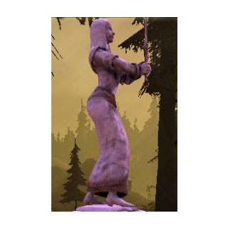 A statue of Andruil in a Dalish camp.