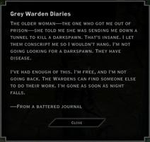 Note Text - Grey Warden Diaries