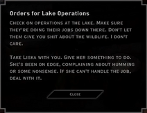Note Text - Orders for Lake Operations