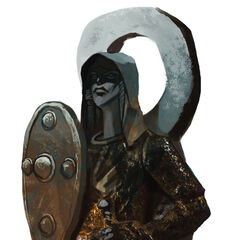 A Fereldan statue depicting Andraste as a warrior.