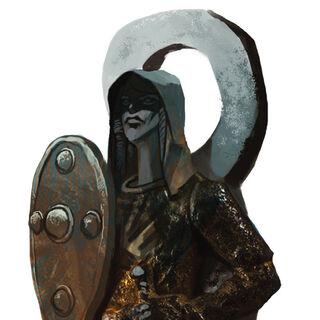 Eine fereldische Statue, die Andraste als Kriegerin darstellt.