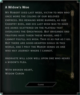 Note Text - A Widow's Woe