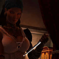 Isabela during her sex scene in <i>Dragon Age II</i>.