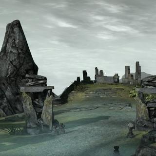 Friedhof und Schrein im Hintergrund