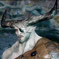 Full view of Iron Bull's horns in-game