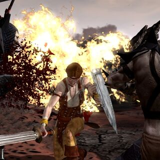Wczesne zdjęcie Aveliny walczącej z parą hurloków