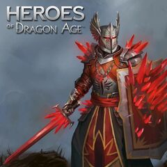 Artwork of a Red Templar Knight in <i>Heroes of Dragon Age</i>